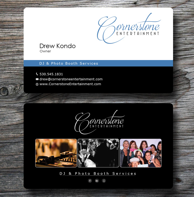 New business cards cornerstone entertainment view larger image reheart Image collections